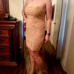 Strapless nude Bebe dress